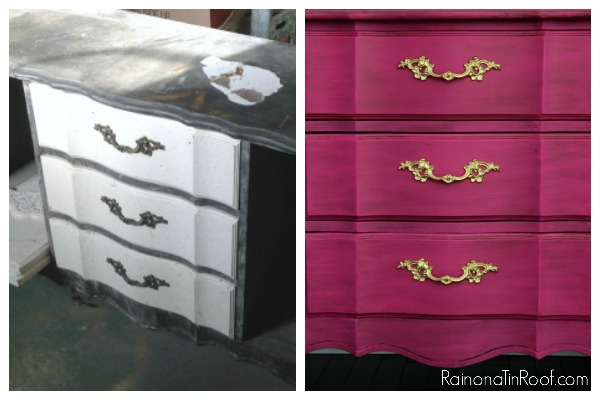 Update Furniture Hardware with Spray Paint: The gold hardware adds a touch of glam to this piece.