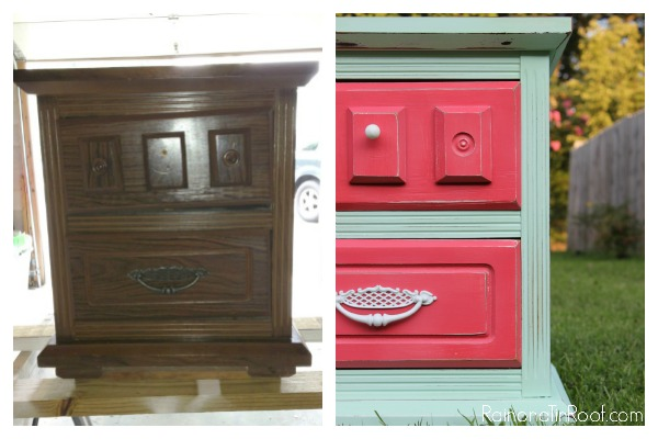 Update Furniture Hardware with Spray Paint: White hardware pops against the bright colors.