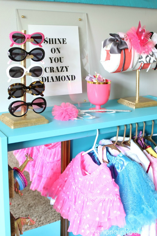 DIY Dress Up Station for Kids from a Bookshelf - Rain on a Tin Roof