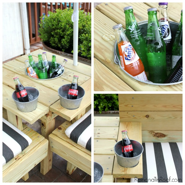 DIY Outdoor Sectional with Built-In Umbrella and Drink Coolers