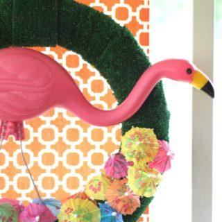 Flamingo Wreath with Drink Umbrellas