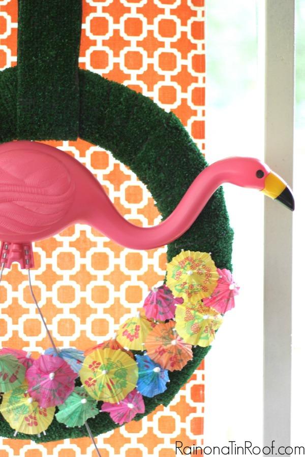 How to Make a Flamingo Wreath with a Plastic Flamingo