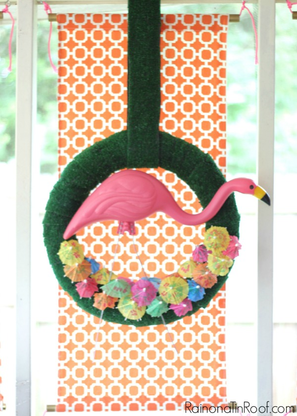 DIY Flamingo Wreath with Drink Umbrellas and a Plastic Flamingo