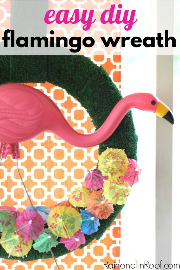 DIY Flamingo Wreath for Summer with Drink Umbrellas
