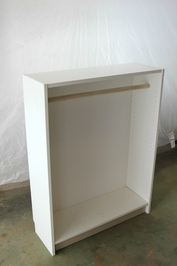 Bookcase Before Becoming a Dress Up Station - Adding the hanging bar - Rain on a Tin Roof