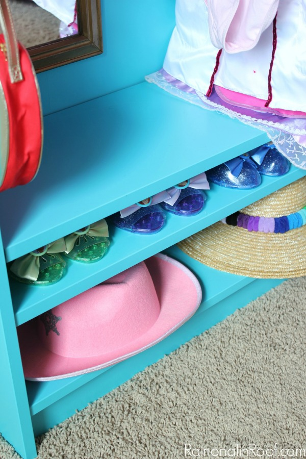 Dress Up Closet for Toddlers - Shoe Storage on Bottom - Rain on a Tin Roof