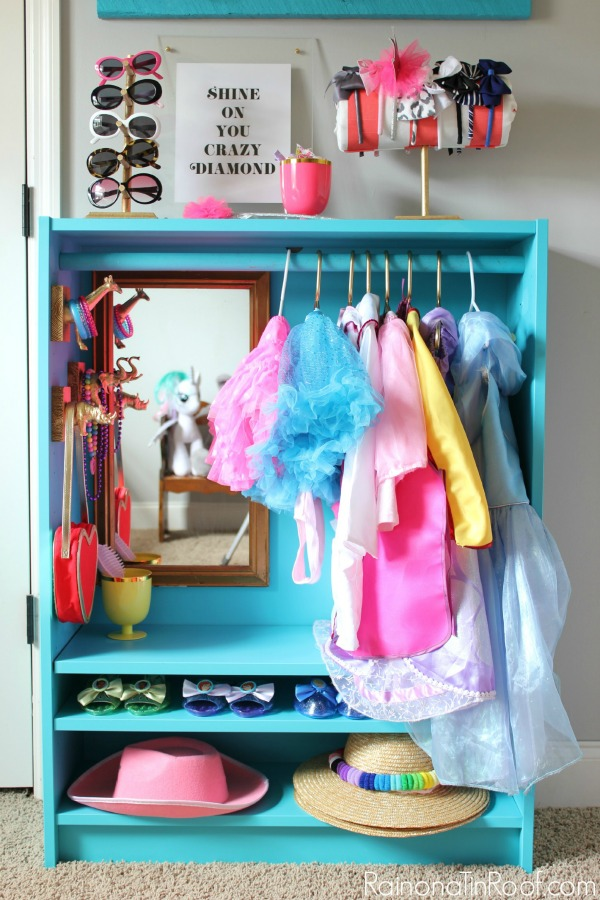Dress Up Storage made from a Bookcase - Rain on a Tin Roof