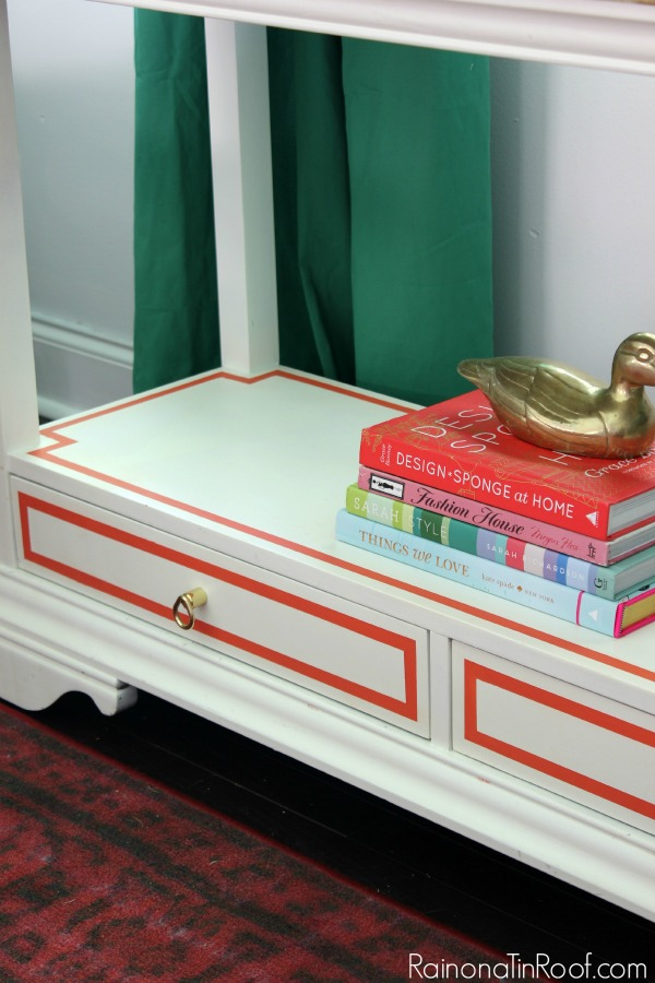 "Easy way to add a pop of color to a space - paint ""frames"" around drawers and furniture surfaces!"