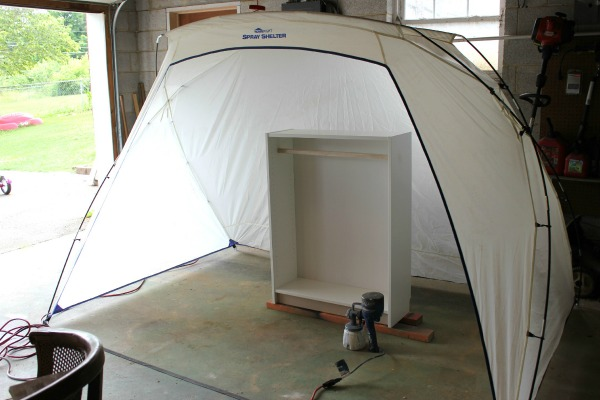 Painting the DIY Dress Up Closet using the HomeRight Spray Shelter - Rain on a Tin Roof