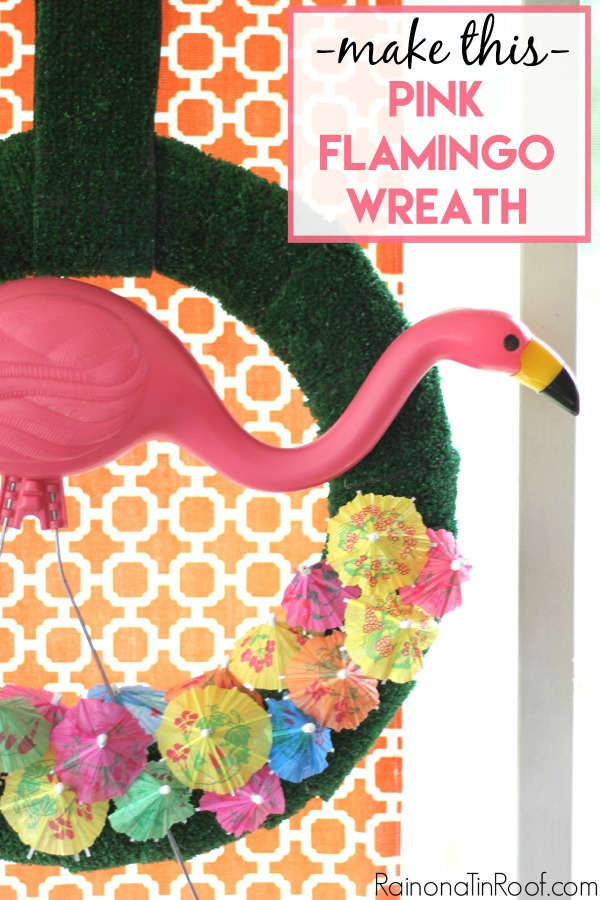 Summer Wreath with a Pink Flamingo
