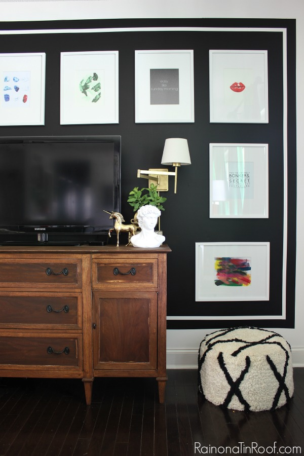 A dramatic, but easy to make black and white gallery wall. Summer Home Tour: The details make the space.