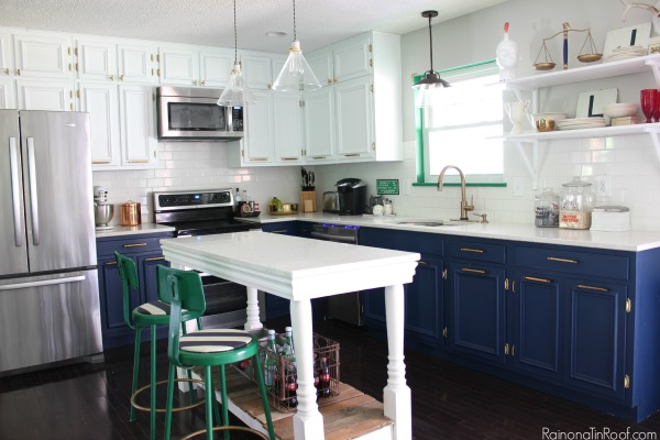 Navy and White Kitchen. Stunning. Summer Home Tour: The details make the space.
