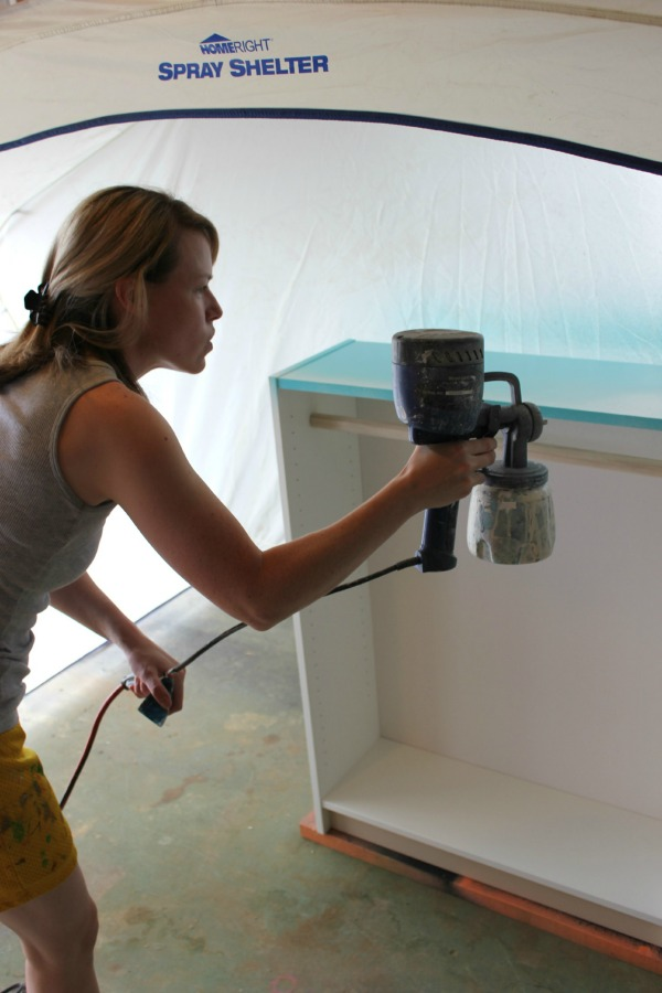 Painting an upcycled bookcase with a HomeRight Paint Sprayer - Rain on a Tin Roof
