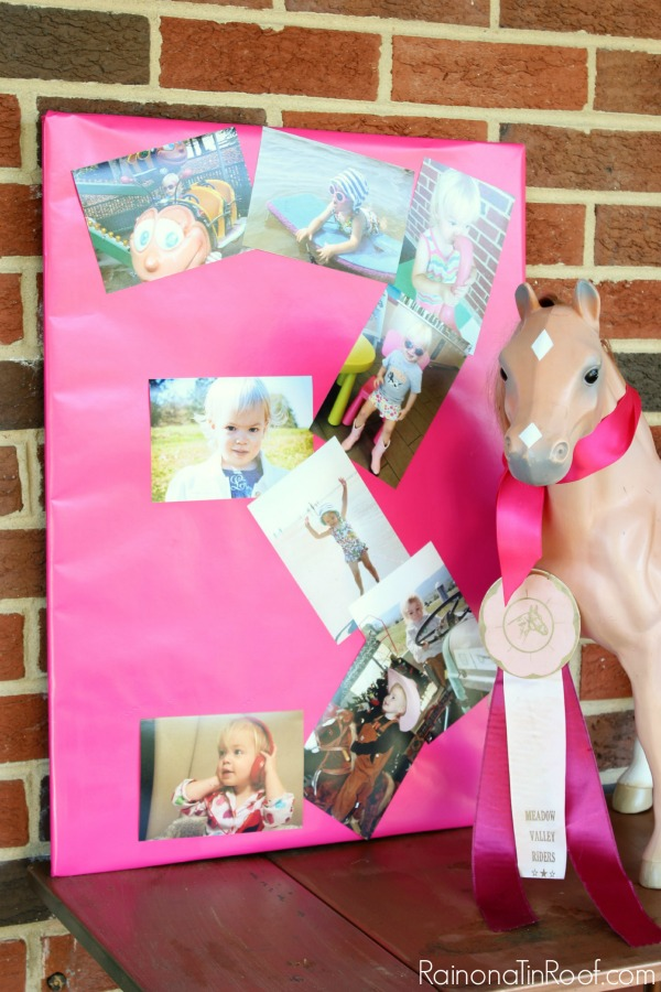 Horse Birthday Party / Photo Number Collage / DIY Party Decorations