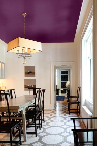Purple Painted Ceiling • Painted Ceiling Designs • Tips for Painting Ceilings