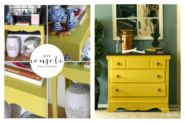Bold and Beautiful Furniture Makeovers: Yellow Furniture Makeovers / DIY Console Table / Mustard Furniture Makeovers