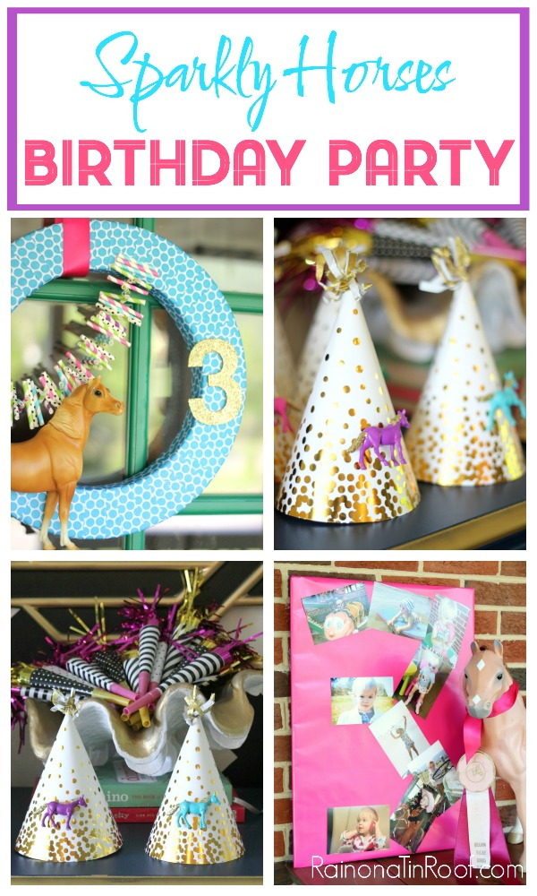 Sparkly Horse Birthday Party / DIY Party Decorations / DIY Party Hats and More