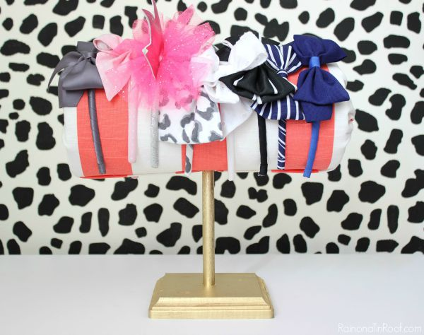 Headband Storage Ideas - paper towel roll covered in fabric - Rain on a Tin Roof