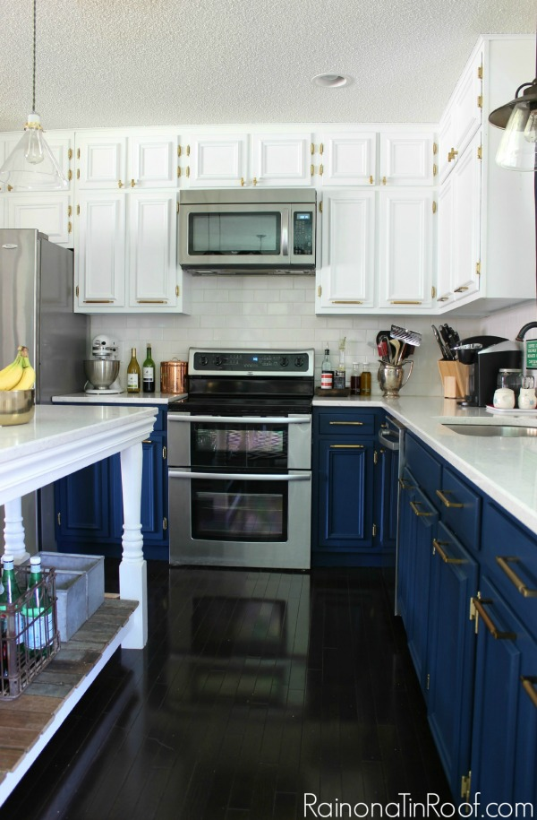 Modern Kitchen • Navy & White Painted Cabinets • Brass Hardware