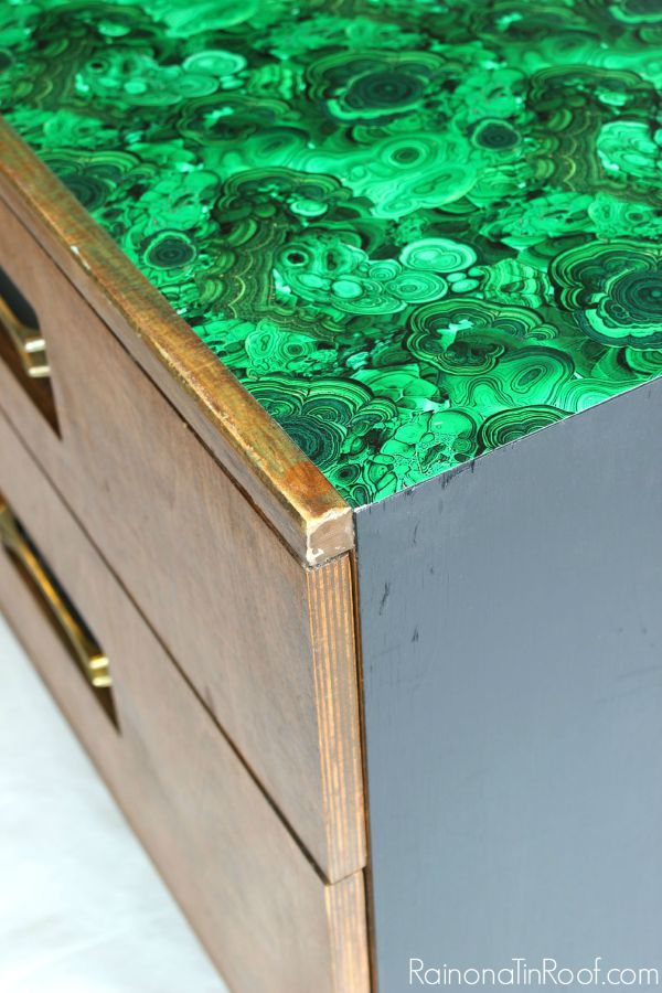 Easy and pretty way to cover a surface that isn't in the best shape! 70's Credenza Makeover with Malachite Wrapping Paper / Velvet Finishes / Furniture Makeover / Furniture Painting