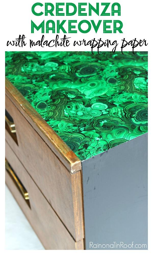 Credenza Makeover | Decoupaged Furniture | Wrapping Paper Furniture Makeover | How to Decoupage Furniture | How to Decoupage Wood | Furniture Makeover DIY