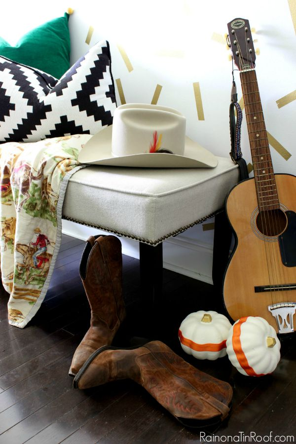 Fall Home Tour with simple fall decorating ideas / Cowboy Hat / Vintage Cowboy / Blanket / Guitar / Cowboy Boots / Dollar Tree Painted Pumpkins