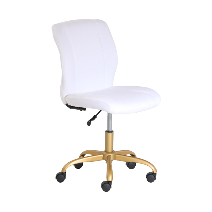 Pretty Office Chair - White and Gold, no arms