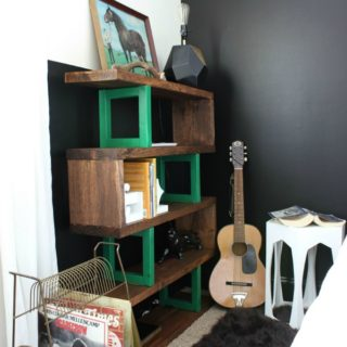Rustic Bookshelf in Bedroom - Rain on a Tin Roof