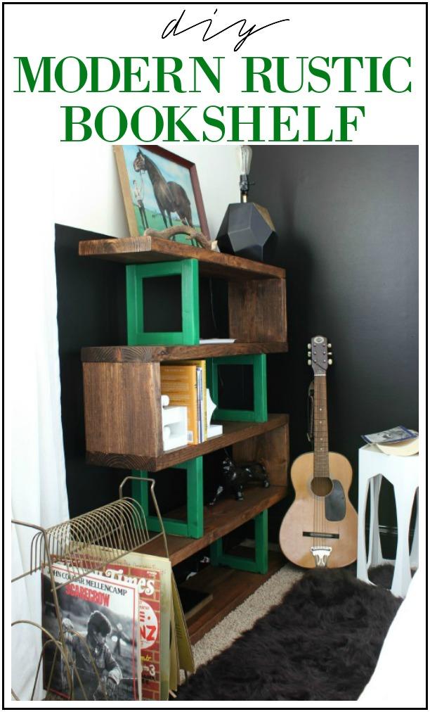 DIY Modern Rustic Bookshelf Build against a black wall - Rain on a Tin Roof