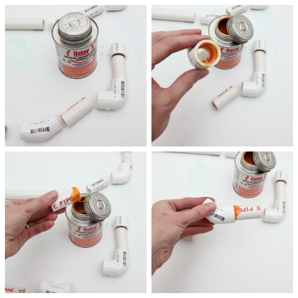 attaching pipe fittings to make toy wagon handles.