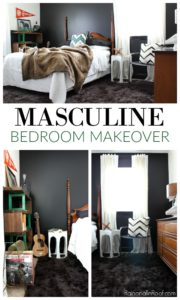 Masculine Bedroom Makeover - This room functions as a Guest Room, Teenage Boy's Room, and an Office. Lots of great ideas for making a room function for multiple uses.