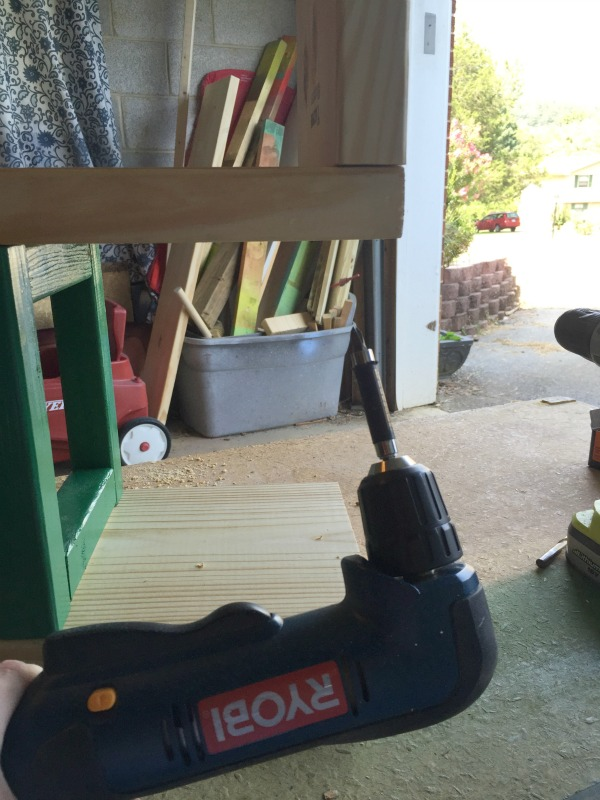DIY Rustic Bookcase - using a right angle drill - Rain on a Tin Roof