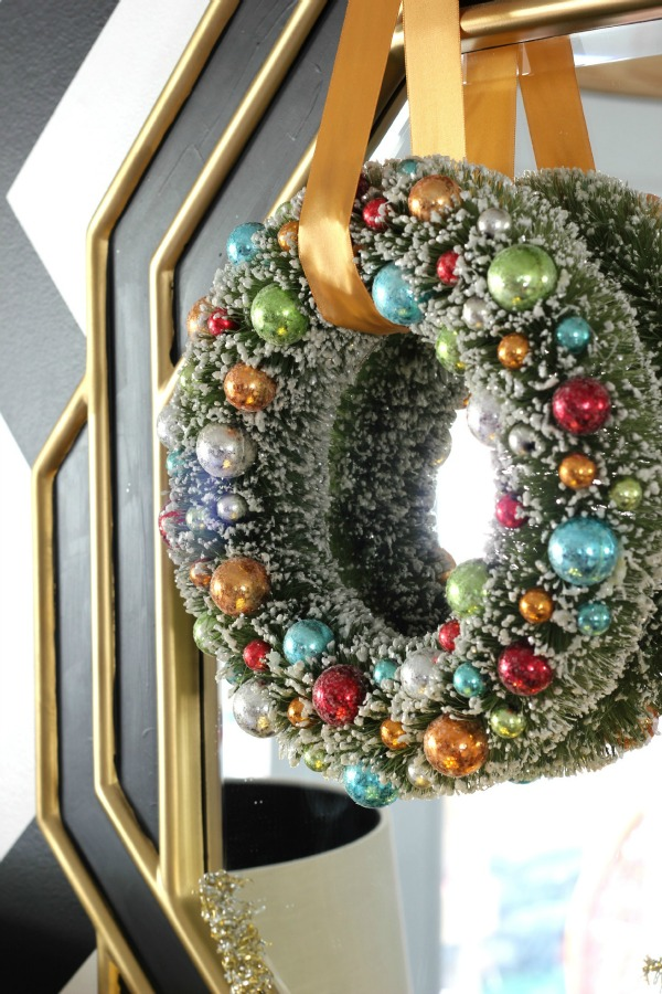Bottle Brush Christmas Wreath /Christmas Home Tour / Holiday Decorating / Christmas Decorating / Holiday Decor / Christmas Decor