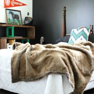 Masculine Bedroom + Office Makeover Full Source List / Black and White Bedroom / Black and White Interior Design / Vintage Inspired Interior Design / Fur Blanket / Black Wall