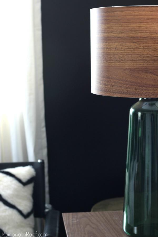Masculine Bedroom + Office Makeover Full Source List / Black and White Bedroom / Black and White Interior Design / Vintage Inspired Interior Design / Green Glass Lamp