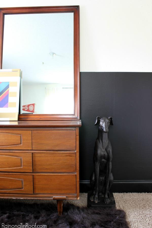 Masculine Bedroom + Office Makeover Full Source List / Black and White Bedroom / Black and White Interior Design / Vintage Inspired Interior Design / Vintage Dresser / Dog Statue