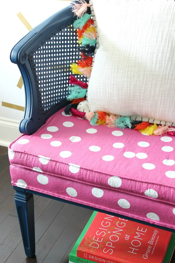 Simple Polka Dot Chair Makeover - She used Velvet Finishes to paint the chair and upholstery! So adorable and very Kate Spade inspired!