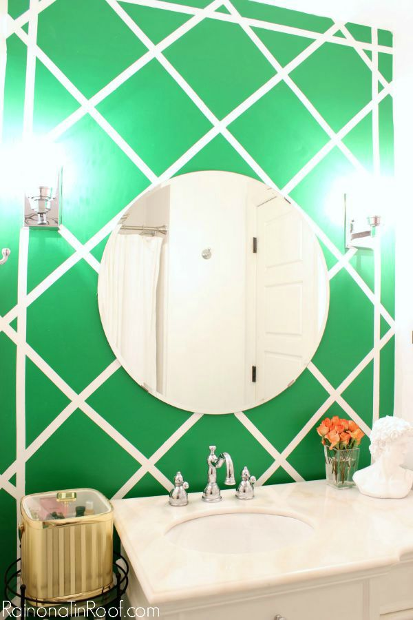 Spring Home Tour: The Evolution of Style | White Bathroom Makeover with a Pop of Green | Cane Inspired Accent Wall