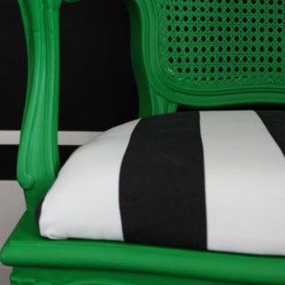 Decorating with Green: Green, Black and White Chair Makeover | French Country but bold