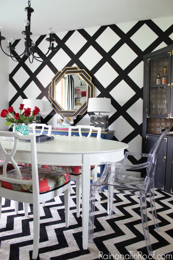 Spring Home Tour: The Evolution of Style | Dining Room Decorating Ideas | Criss-Cross Accent Wall | Black and White Decor
