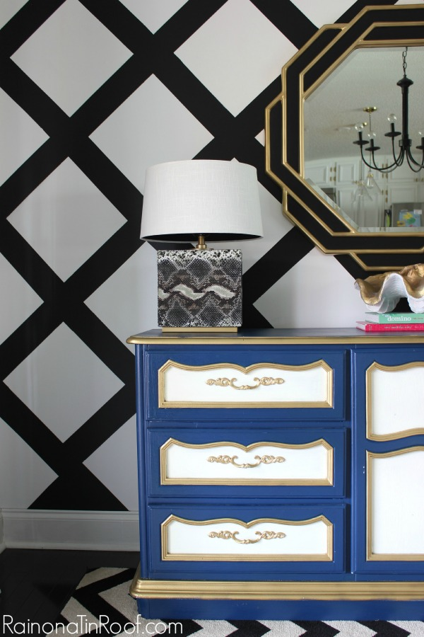 Spring Home Tour: The Evolution of Style | Dining Room Decorating Ideas | Criss-Cross Accent Wall | Black and White Decor | Snakeskin Lamps \ Navy, White, and Gold Buffet