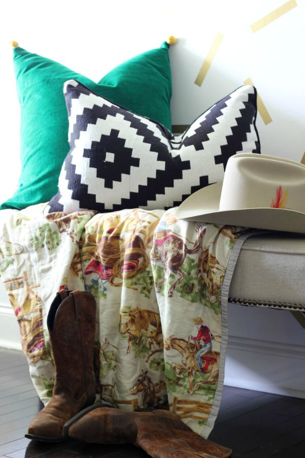 Spring Home Tour: The Evolution of Style | Gold Confetti Entryway with Cowboy Boots and Hats | Kelly Green Pillow | Vintage Cowboy Blanket