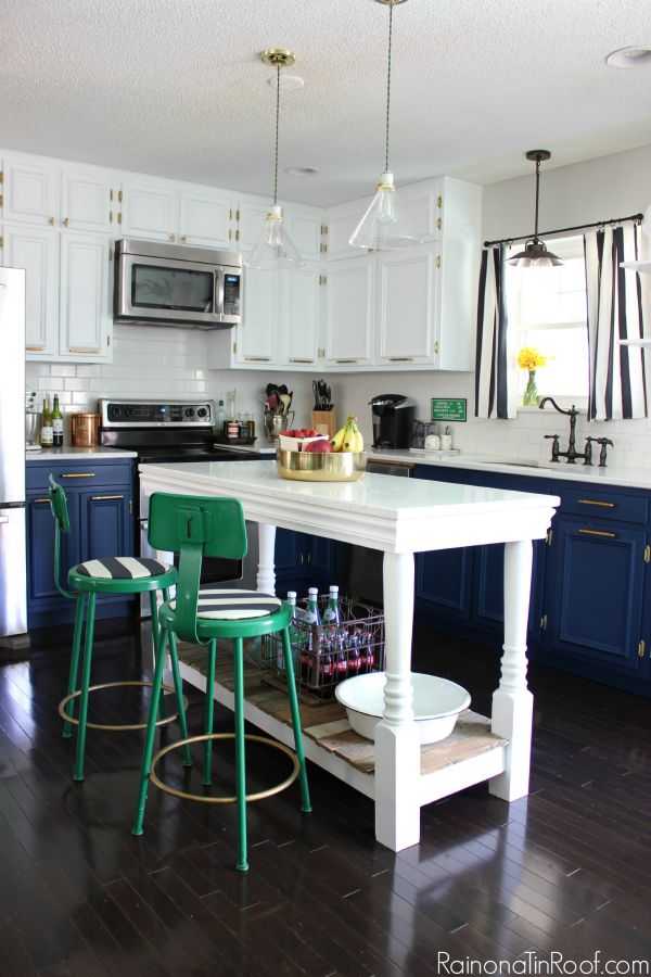 Spring Home Tour: The Evolution of Style | Kitchen Makeover | Navy and White Cabinets | Brass Hardware | DIY Kitchen Island | Green Barstools
