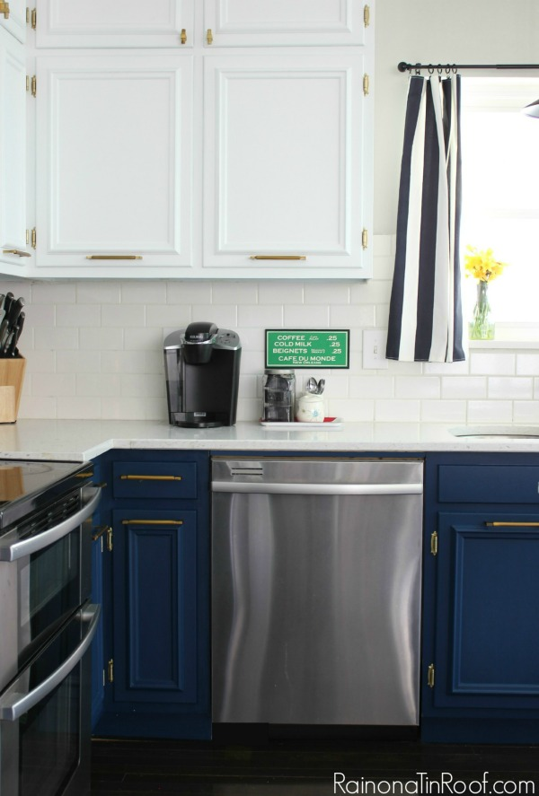 Spring Home Tour: The Evolution of Style | Navy and White Kitchen | Brass Hardware | Coffee Station