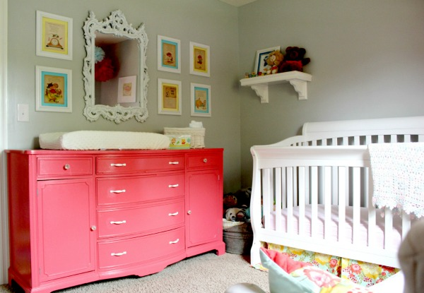 Spring Home Tour: The Evolution of Style | Vintage Inspired Nursery | Coral Buffet turned Dresser and Changing Table
