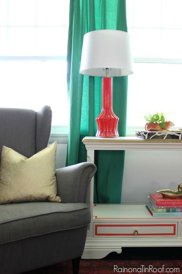 Spring Home Tour: The Evolution of Style | Modern Living Room | Kelly Green Curtains | Coral Decorating Ideas