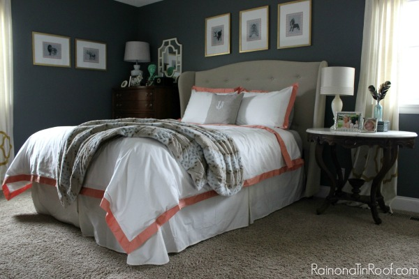 Spring Home Tour: The Evolution of Style | Navy and Coral Master Bedroom