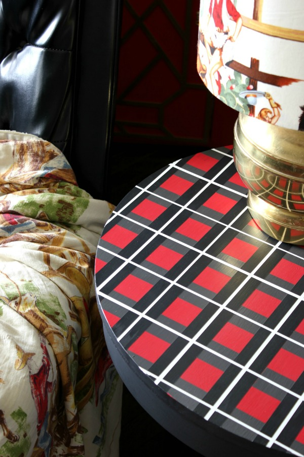 Painter's Tape Designs - black, white, red and gray plaid painted side table