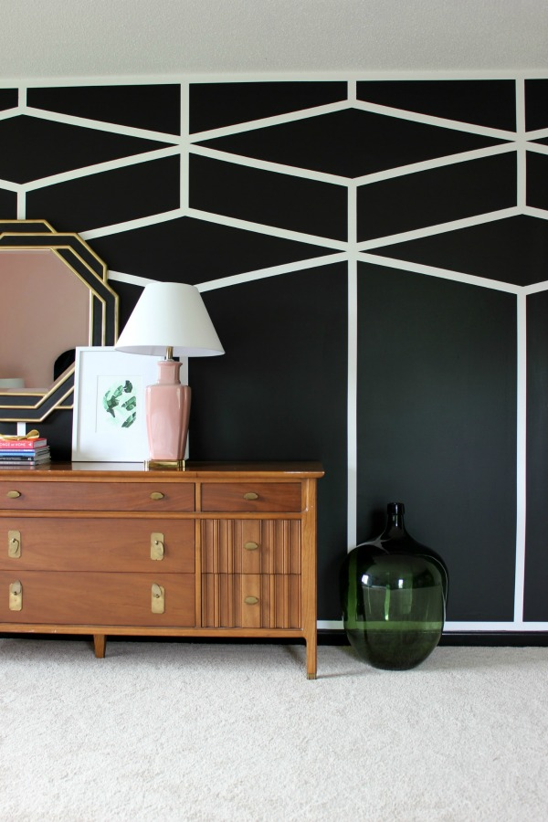 Painters Tape Wall Designs - black and white diamond wall
