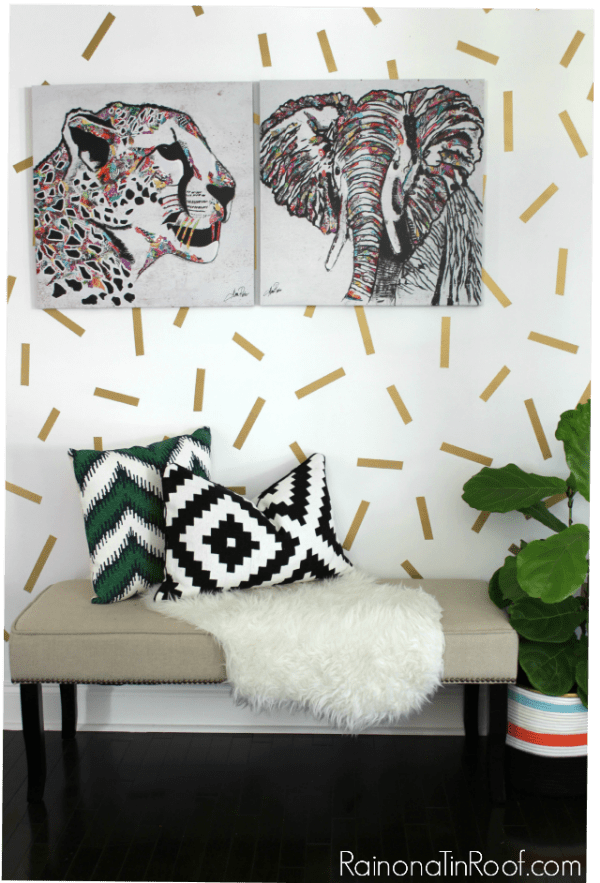 Painter's Tape Wall Designs - gold confetti wall in an entryway